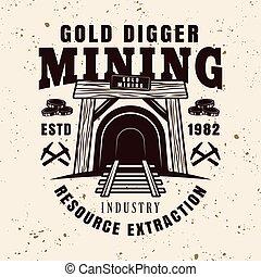 Entrance in mine shaft vector vintage emblem - Entrance in ...