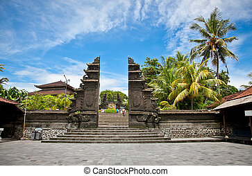 Entrance in Tanah Lot Temple, the most important hindu...