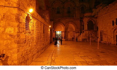 Entrance of Church of the Holy Sepulchre at Night,...