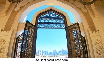 Entrance of Doha Mosque - Decorated entrance gate of Grand...