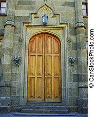 Entrance of nothern facade, Vorontsov palace, Alupka,...
