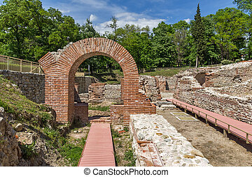 Entrance of roman bath in ancient Diocletianopolis, town of Hisarya, Plovdiv Region