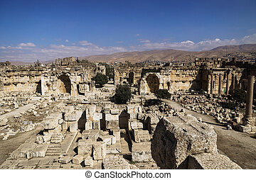 Entrance of ruins of Jupiter temple and great court of...