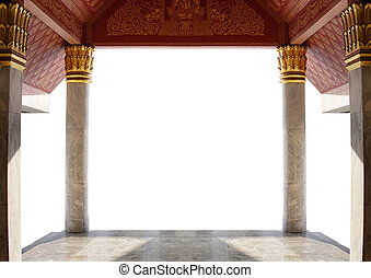 entrance of thai temple isolated on white background with clipping path