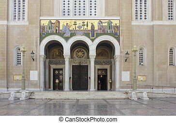 entrance of the Annunciation cathedral of Athens