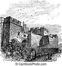 Entrance of the castle Carlisle, in Carlisle, county of Cumbria, United Kingdom vintage engraving, 1890s