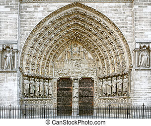 Entrance of the Notre Dame in Paris