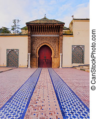 Moulay Ismail Mausoleum in Meknes, Morocco - Entrance of the...
