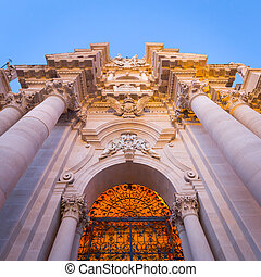 Entrance of the Syracuse baroque Cathedral in Sicily - Italy