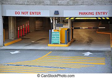 Entrance parking garage - Parking entrance in business...