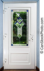 Entrance pvc door with tiffany leaded pane for villagee...