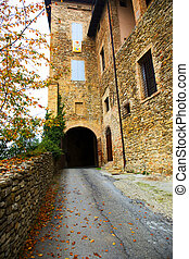 Entrance road to the castle in autumn