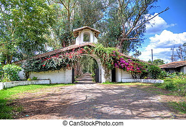 Entrance to an old hacienda restaurante - Entrance to an old...