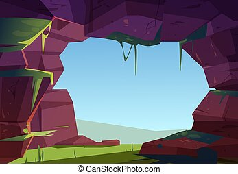 Entrance to cave in mountain, hole in rock, cavern