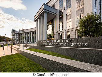 Entrance to Colorado Supreme Court Denver - Sign and...