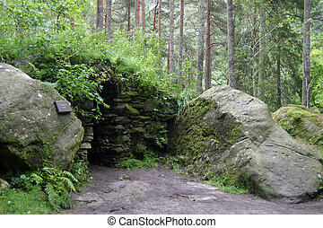 Entrance to hermitage cave near Dunkeld, Perthshire,...