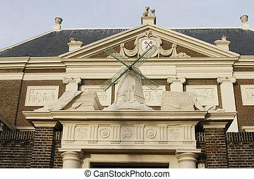 Entrance to historical Lakenhal in Leiden - The Lakenhal...