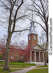 Entrance to Memorial Church in Harvard Yard