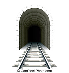 Entrance to railway tunnel - Vector illustration of an...