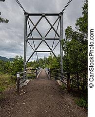 Entrance to Suspension Bridge in Yellowstone Wilderness