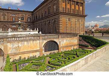 entrance to the Boboli Gardens in Florence - with view of...