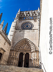 Entrance to the Cathedral of Santa Maria, Burgos, Castilla,...
