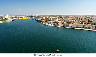 Entrance to the commercial port of Brindisi (Italy)