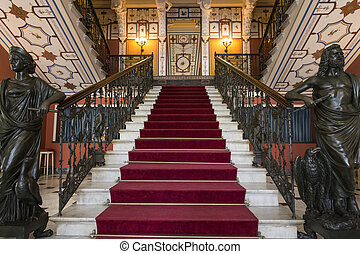 Entrance to the famous Achilleion building on Corfu, Greece