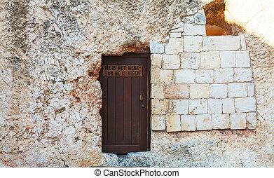 Entrance to the Garden Tomb in Jerusalem, Israel