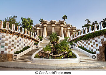 Entrance to The Gaudi Museum in Barcelona, Spain