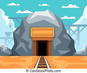 Entrance to the gold mine with rails for carriages