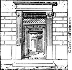 Entrance to the house, vintage engraving.
