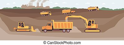 Entrance to the mining earth tunnel on quarry landscape flat vector illustration.