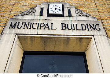 Entrance to the Municipal Building. St. Ignace, Michigan.