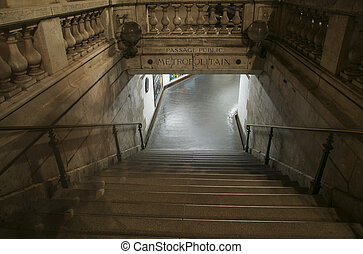 Entrance to the Paris metro, night view
