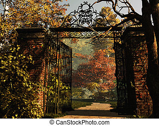 Entrance to the Park - a gate at the entrance to the park