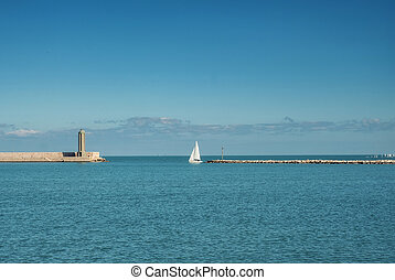 Entrance to the port of Bari, Italy.