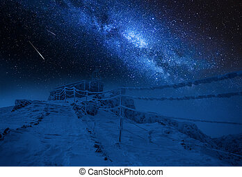 Entrance to the top of Kasprowy Wierch at night