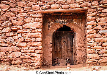 Entrance to the village home - Doors to the small home in ...