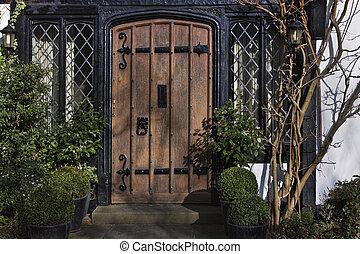 Entrance to Tudor house in England. London