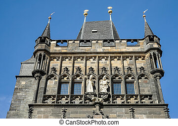 Entrance tower to Charles Bridge in Prague