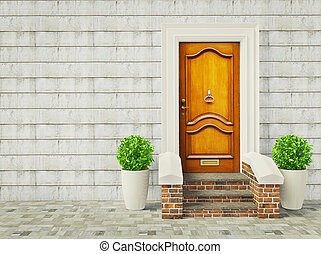 entrance - vintage door and two plants near wall.