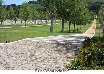 entrance with garden of the memorial cemetery of the American soldiers who fell in the second world war in florence