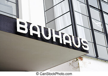 Entrance with label of the Bauhaus building in Dessau