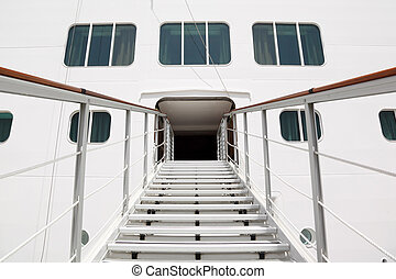entrance with rails and stairs in big cruise passenger liner...