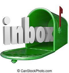 entrante, buzón, verde, inbox, palabra, mensaje, email