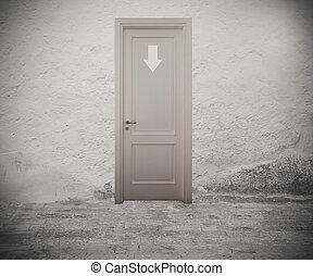 entrar, a, el, derecho, puerta