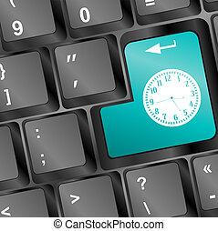 entrar, botón, tiempo, ordenador teclado, reloj, concept: