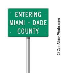 entrar, camino, miami-dade, señal, condado