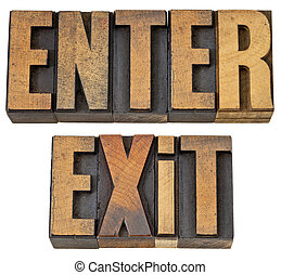 entrar, e, saída, palavras, em, madeira, tipo
